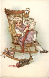 Little Girl in Rocking Chair with Cat
