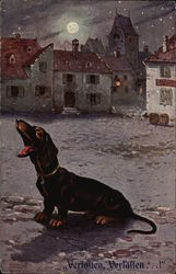 Painting on Dachsund Howling at Moon