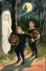 Boys with Jack O' Lanterns and Ghost