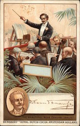 Conductor With Baton and Orchestra Trade Card