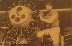 Capt. Charles Plucky Lindburgh Tunes His Motor