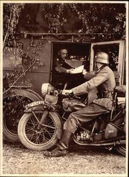 Photo: Nazi Soldier delivering Mail on Motorcycle