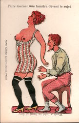 French Work A Light - Man & Woman in Undergarments Postcard