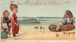 Beach Scene with Man on One Knee, Woman in Red Dress and Sailor in Small Boat