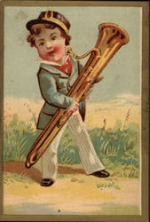 Boy in Suit Holding Tall Brass Horn