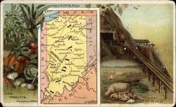 Map of Indiana Inset with Farming Scenes