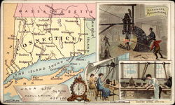 Map of Connecticut, Massachusetts, Long Island Sound with Worker Pictures