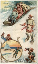 Three on a Toboggan, Man Wearing Snowshoes, Snowball Fight, Sailboat Inset