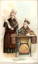 """Normandy"" - Two Women in White Bonnets at Sewing Machine"