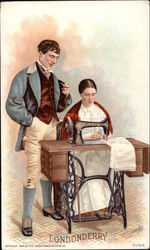 Man Stands and Watches Woman Seated at Sewing Machine