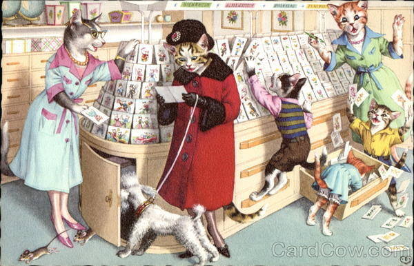Cats Dressed in Clothing with Poodle on a leash at Card Shop