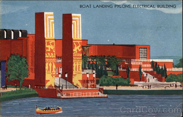 Boat Landing Pylons, Electrical Building 1933 Chicago World Fair