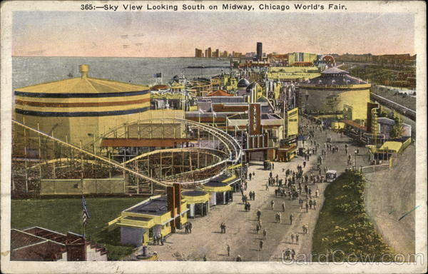 Sky view looking south on Midway, Chicago World's Fair Illinois