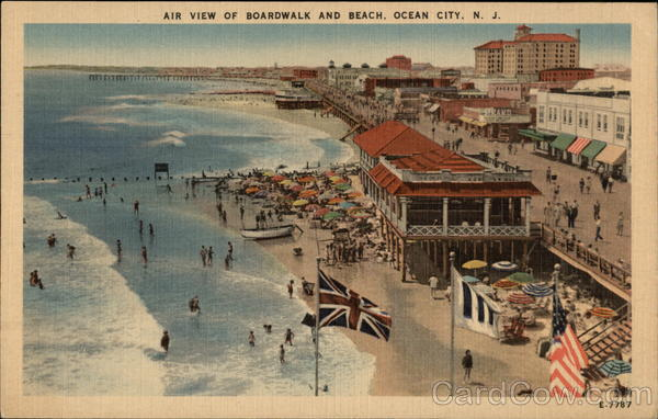 Air View of Boardwalk and Beach Ocean City New Jersey