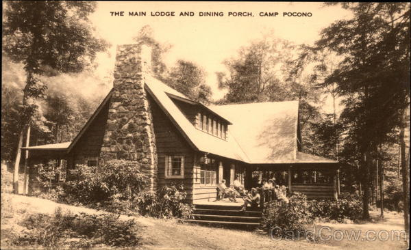 The Main Lodge and Dining Porch, Camp Pocono Reeders Pennsylvania