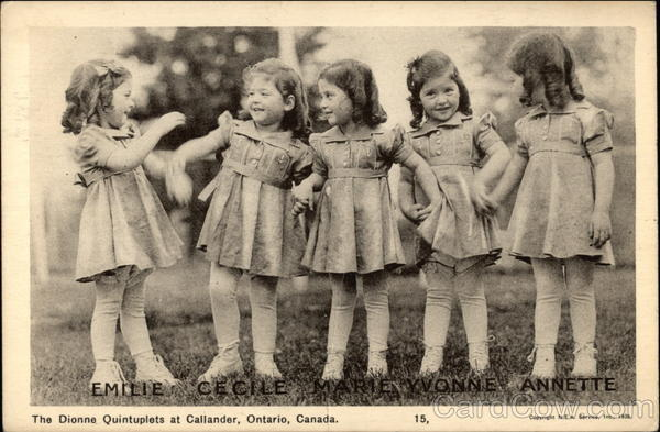 The Dionne Quintuplets Callendar Canada Ontario