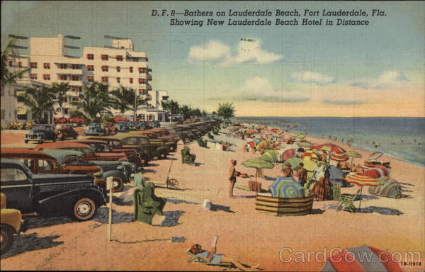 Bathers at Lauderdale Beach, Showing New Lauderdale Beach Hotel in Distance Fort Lauderdale Florida