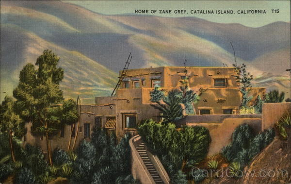 Home of Zane Grey with Mountains in Background Santa Catalina Island California