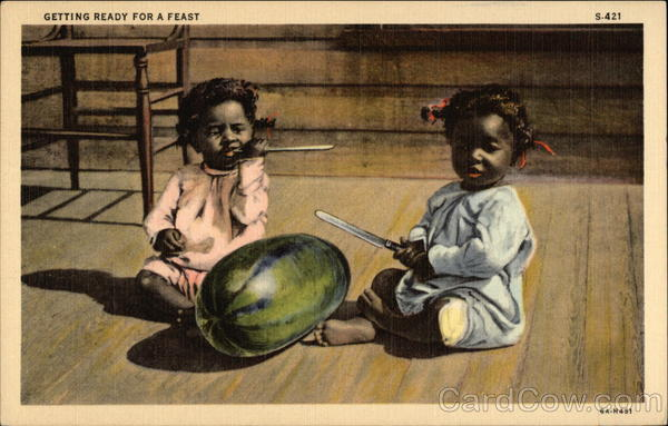 Getting Ready for a Feast - Two Black Children with Watermelon