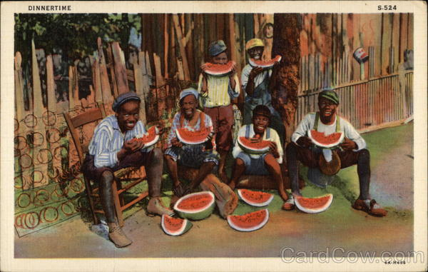 Dinnertime - Group of Black Youth eating Watermelon