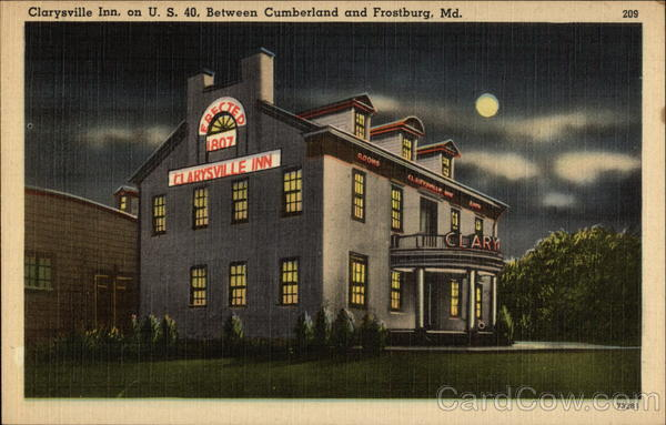 Clarysville Inn at Night - Erected 1807 - on US 40 Cumberland Maryland