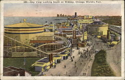 Sky view looking south on Midway, Chicago World's Fair Postcard
