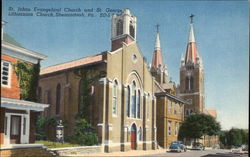 St. Johns Evangelical Church & St. George Lithuanina Church Postcard