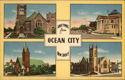 Greetings from Ocean City, New Jersey - Multiple Views of Churches