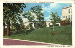 Women's Dormitories: Lowry Hall with Moulton Hall in the Distance at Kent State University Postcard
