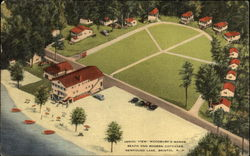 Aerial View WOodbury's Manor, Beach and Modern Cottages Postcard