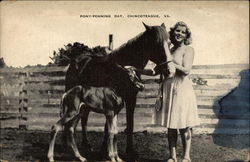Pony-Penning Day - Young Woman with Horse & Foal