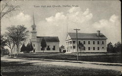 Street View of Town Hall and Church Postcard