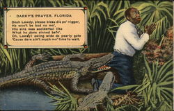 Darky's Prayer, Florida - Black Man in Aligator Swamp
