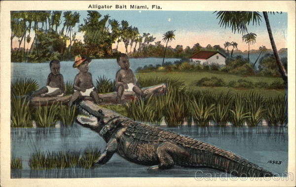 Alligator Bait - Three Black Children Sitting at Water's Edge facing Aligator Miami Florida