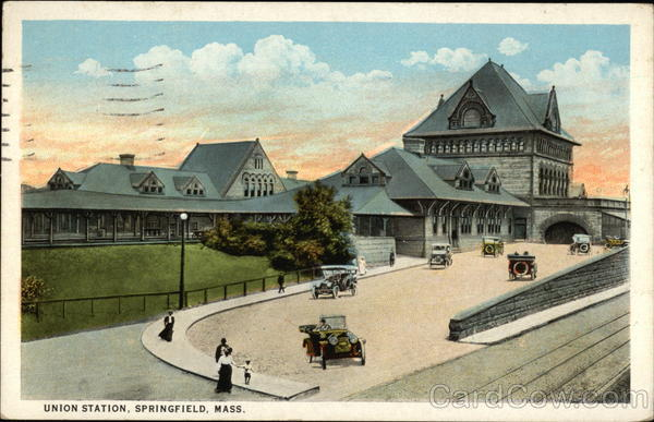 View of Union Station and Grounds Springfield Massachusetts