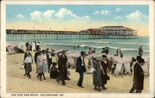 People at the Pier and Beach Old Orchard Beach Maine