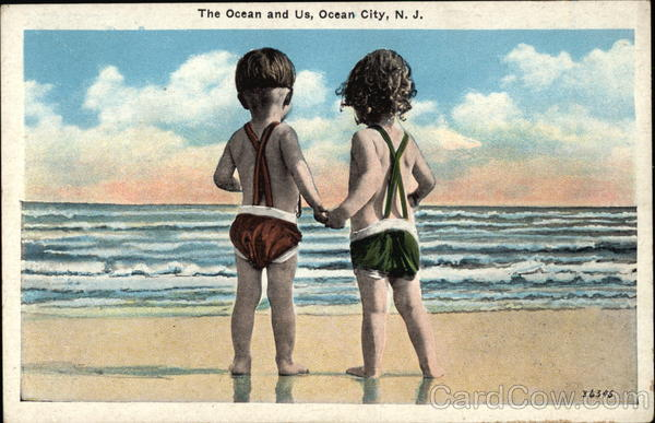 The Ocean and Us - Small Children on the Beach looking at the Ocean Ocean City New Jersey