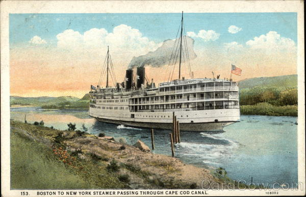 Boston to New York Steamer passing through cape cod canal Massachusetts