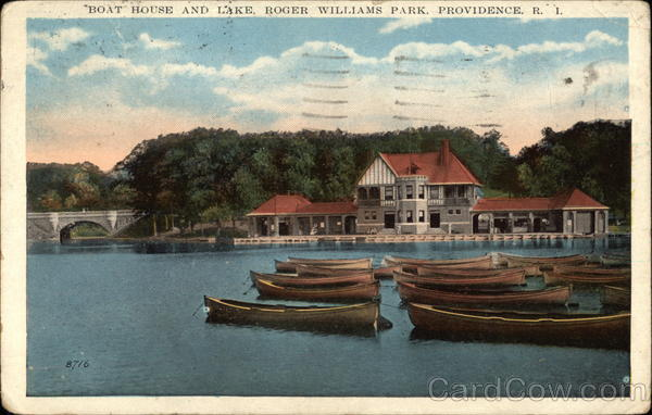 Boat House and Lake at Roger Williams Park Providence Rhode Island
