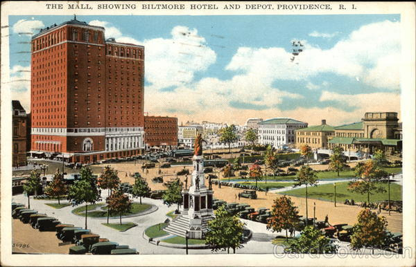 The Mall showing Biltmore Hotel and Depot Providence Rhode Island
