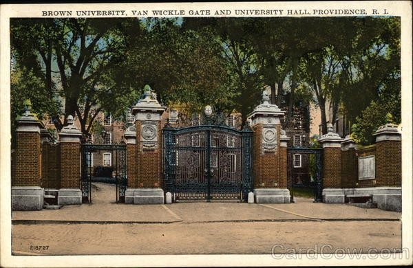 Brown University, Van Wickle Gate and University Hall Providence Rhode Island