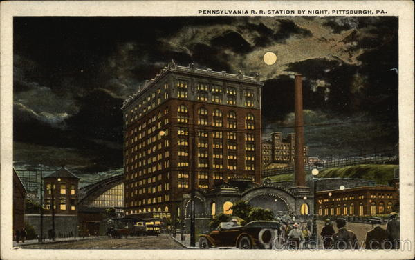Pennsylvania Railroad Station by Night Pittsburgh