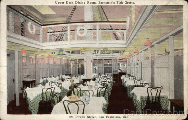 Upper Deck Dining Room, Bernstein's Fish Grotto, 123 Powell St San Francisco California