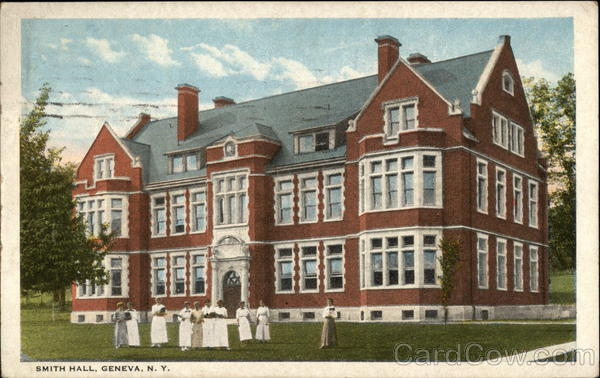 Street View of Smith Hall with Ladies on the Lawn Geneva New York