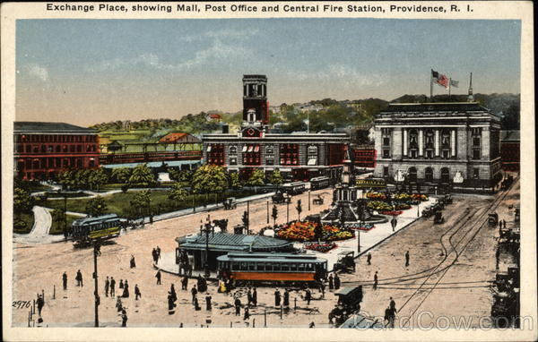Exchange Place, showing Mall, Post Office and Central Fire Station Providence Rhode Island