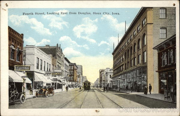 Fourth Street, Looking East from Douglas Sioux City Iowa