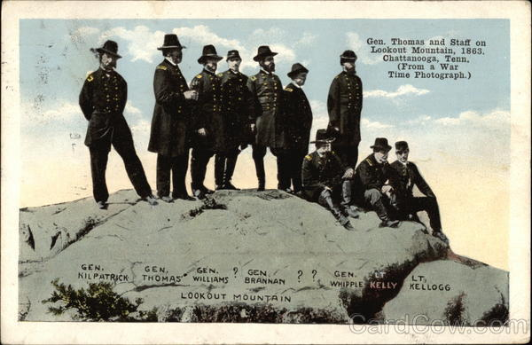 Gen. Thomas and Staff on Lookout Mountain, 1863 Chattanooga Tennessee
