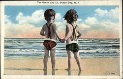 """The Ocean and Us"" - Small Children on the Beach looking at the Ocean"
