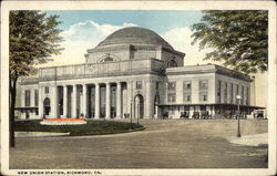Street View of the New Union Station Postcard