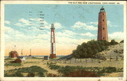 The Old and New Lighthouse Postcard